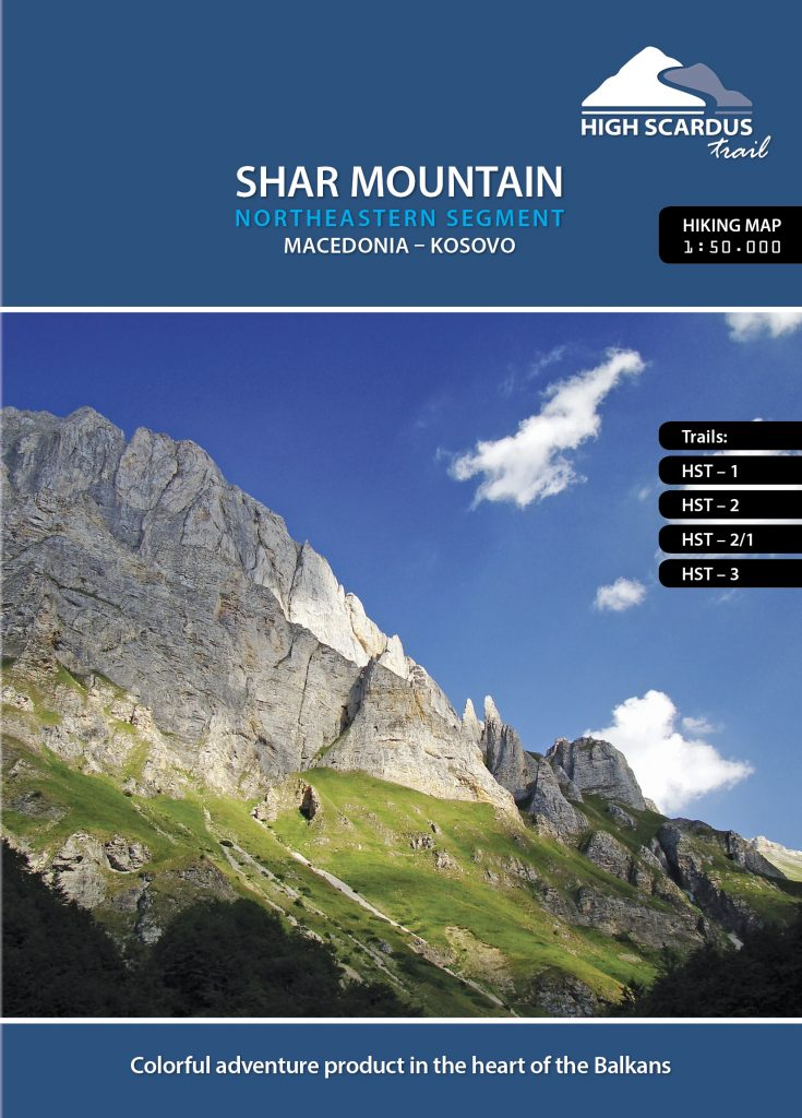 High Scardus Trail Map 1/6 Shar Mountain - Northeastern Segment