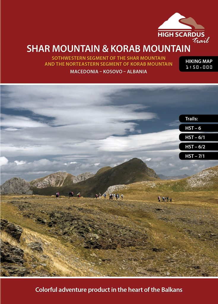 High Scardus Trail Map 3/6 Shar & Korab Mountain - Southwestern Segment of the Shar Mountain and the Northwestern segment of Korab Mountain