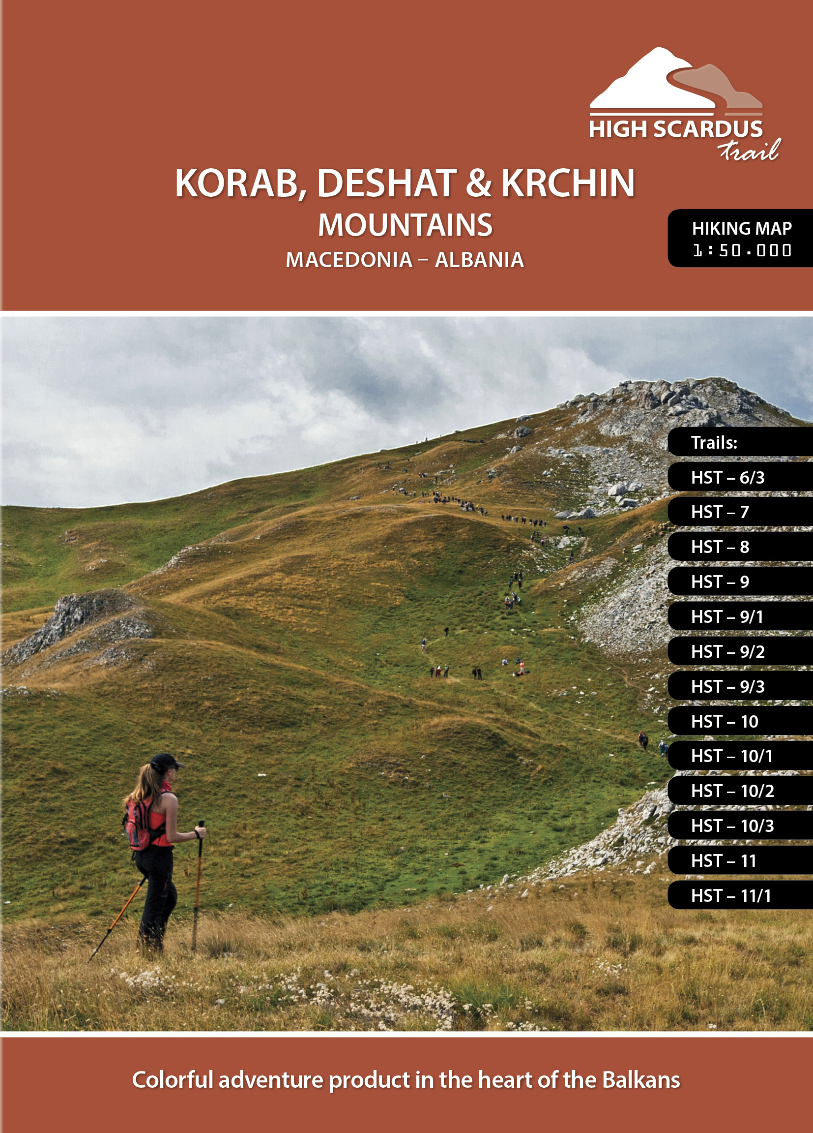 High Scardus Trail Map 4/6 Korab, Deshat, Krchin Mountains